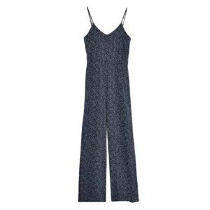 H&M Navy Printed Cami Jumpsuit Wide Leg Pockets